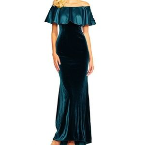 ADRIANNA PAPELL OFF SHOULDER VELVET DRESS